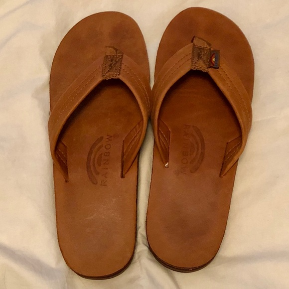 fe9f4c4c27be Men's Double Layer Rainbow Sandals, Brown Leather